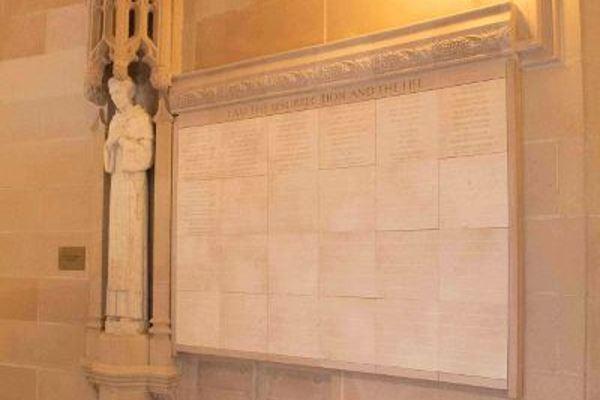flat tan granite memorial wall