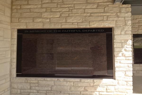 flat tan black granite memorial wall