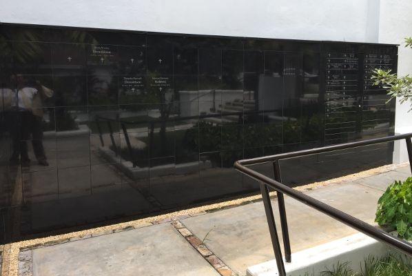 flat black granite memorial wall