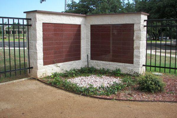 flat red granite memorial wall