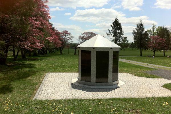 free-standing gray black granite columbarium