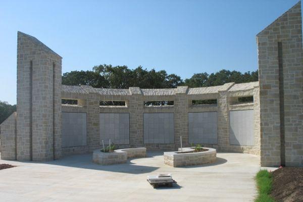 curved concave white granite columbarium