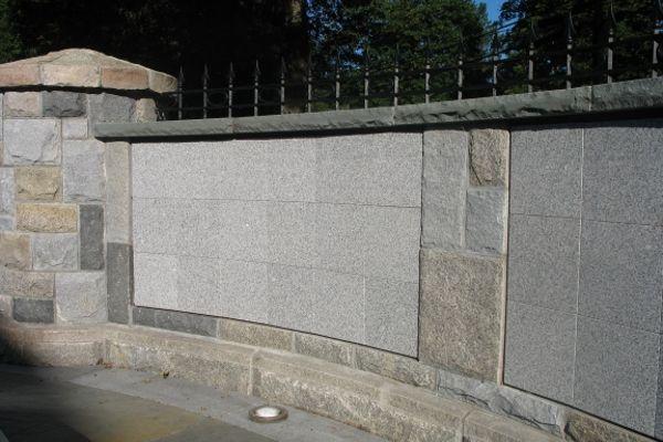 curved insert gray granite columbarium
