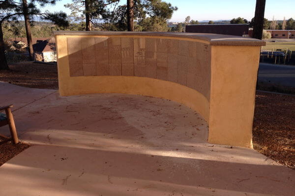 curved insert red granite columbarium
