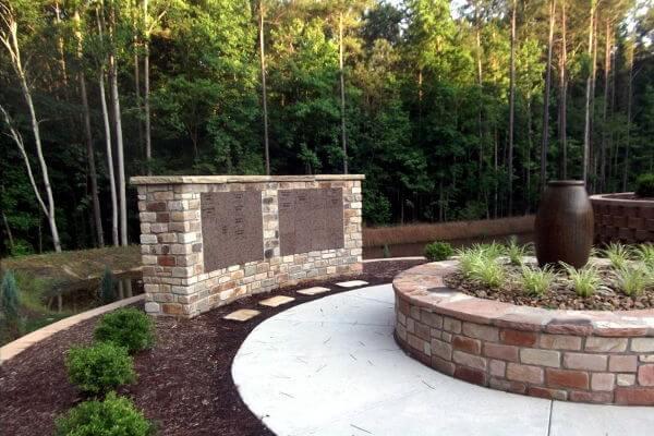 curved insert brown granite columbarium