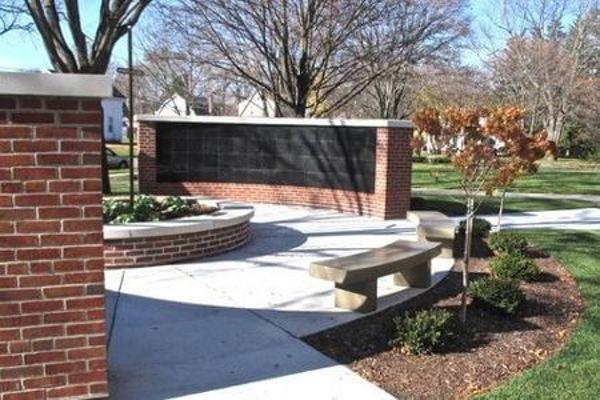 curved insert black granite columbarium