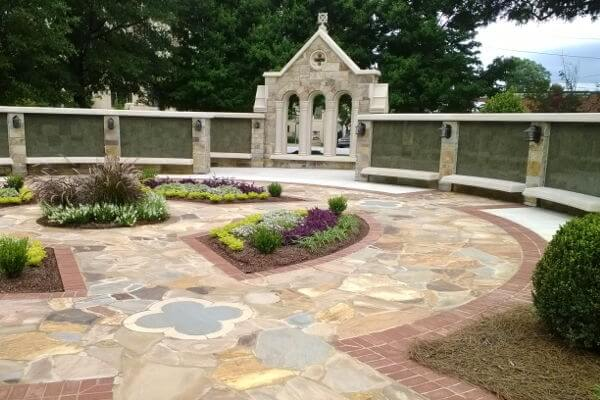 curved insert green granite columbarium