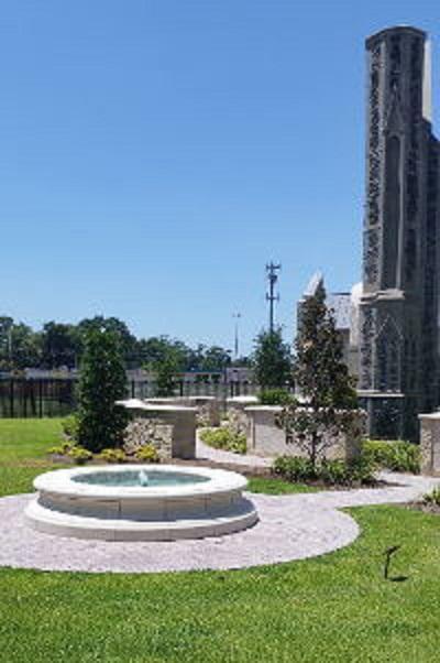 curved insert white granite columbarium
