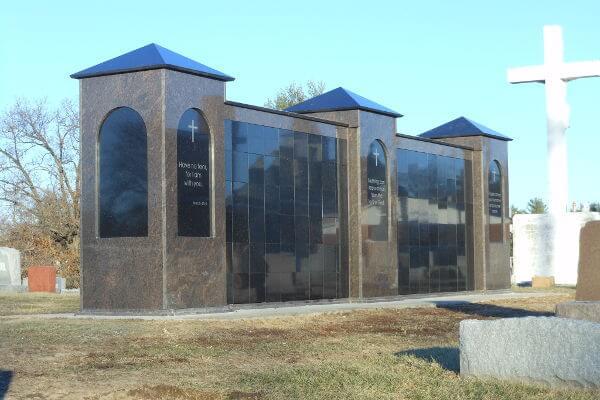 free-standing brown granite columbarium