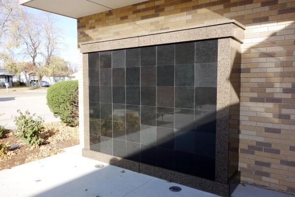 wall addon brown black granite columbarium
