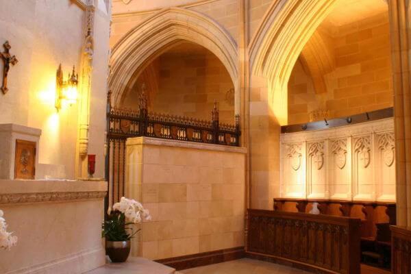 free-standing white marble columbarium