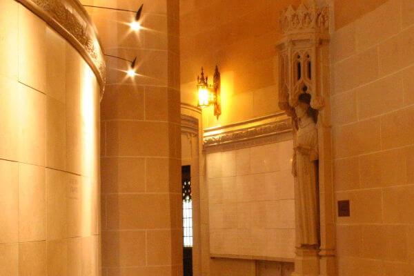 curved convex insert white marble columbarium