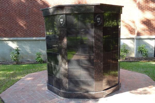 free-standing black granite columbarium